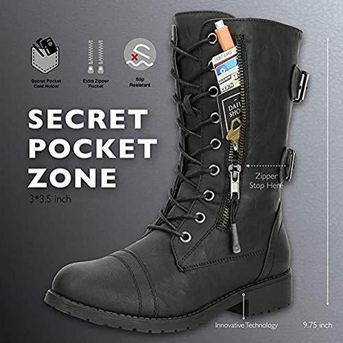 Minetom Femmes Bottines Militaire Fermeture Éclair Lacets Bottes de Combat Automne Hiver Chelsea Bottes Chaussures… 4