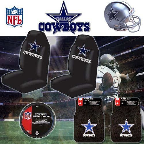 NFL Dallas Cowboys Car Seat Covers Floor Mats And Steering Wheel Cover Set