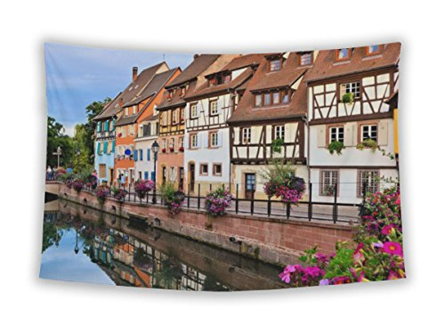 Gear New Wall Tapestry For Bedroom Hanging Art Decor College Dorm Bohemian, Venice Beautiful Canals Colmar France Late Day Reflections, (Alsace Wall)