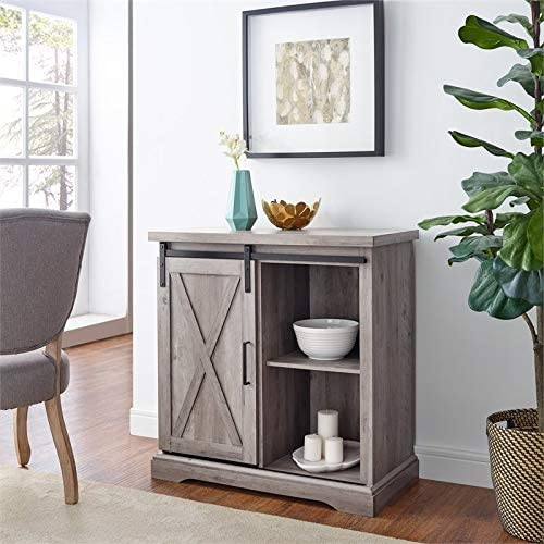 Pemberly Row 32 Farmhouse Sliding Barn Door Wood Accent Chest Home Coffee Station Buffet Storage Cabinet in Gray Wash