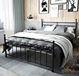 TEMMER Reinforced Metal Bed Frame Queen Size with Headboard and Stable Metal Slats Boxspring Replacement/Footboard Single Platform Mattress Base, Black (Queen, Black).