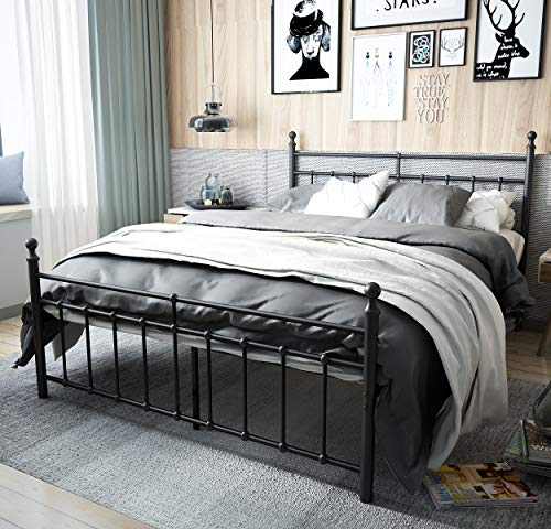 (TEMMER Reinforced Metal Bed Frame Queen Size with Headboard and Stable Metal Slats Boxspring Replacement/Footboard Single Platform Mattress Base, Black (Queen, Black))
