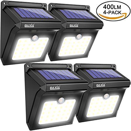 Solar Lights Outdoor,Solar Motion Lights 400LM,BAXIA Technology Waterproof Wireless Bright 28 LED Motion Sensor Security Light for Outdoor Gate, Door, Wall,Driveway, Garden, Patio, Yard (4 Packs)