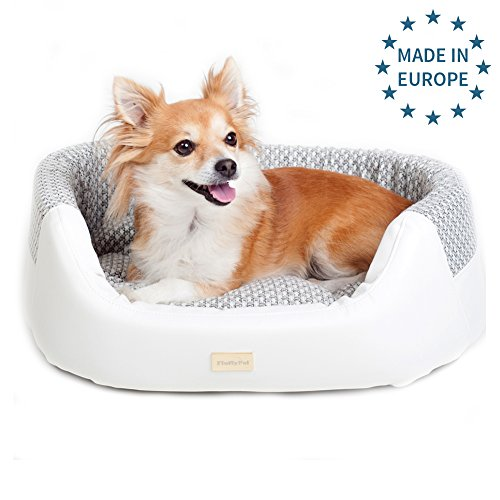Luxury Dog Bed by FluffyPal Made In Europe Unique Fancy Cosy Snuggle Best Dog Beds - Arthritic Dog Basket Lounge Corner Couch Dog Bed - Easy & Completely Washable And (Hypoallergenic Bed)