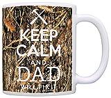 Woodland Camo Keep Calm and Dad Will Fix It Gift Coffee Mug Tea Cup Camo