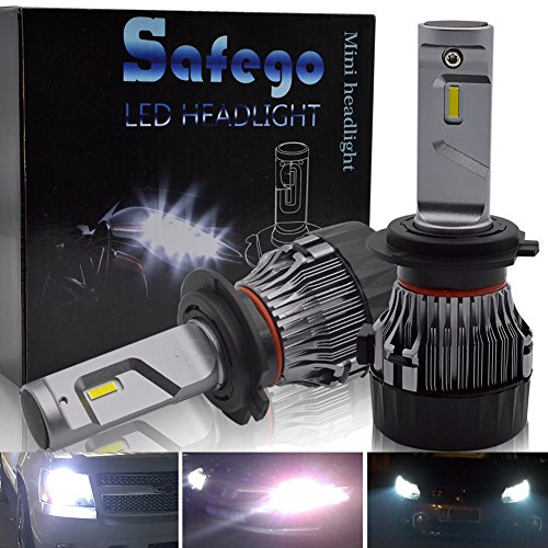 Safego H7 LED Headlight Bulbs Conversion Kit,High Power CREE Chip Chips 60W 10000Lm 6500K Extremely Bright All-in-One Conversion Kit of 2,1 year warranty ()