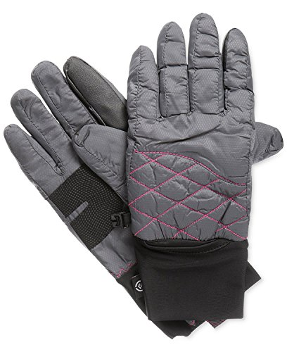 Isotoner Signature SmarTouch Packable Ski Tech Gloves in Grey & Pink (Large / X-Large)
