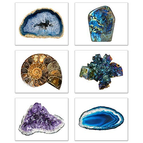 - Crystal Quartz Geodes Prints - Set of 6 (8x10) Cluster Esoteric Abstract Wall Art Decor - Amethyst - Bismuth - Ammonite - Blue Agate - Labradorite - Natural Stone