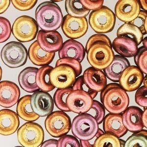 Czech O-Beads 3.8 x 1 mm Purple Iris Gold Mix 8.1g