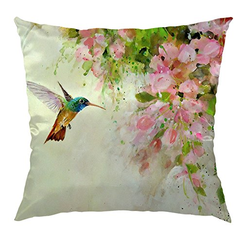 HGOD DESIGNS Hummingbird Pillow Case,Lovely Hummingbird and Pink Flowers Oil Painting Art Satin Cushion Cover Square Standard Home Decorative for Men/Women/Kids 18x18 inch Green,Pink