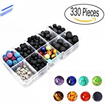 330 Pcs Lava Bead Kit,Lava Black Rock Volcanic Stone Beads for Essential Oils with Assorted Natural 8mm Chakra Beads for Jewelry Making