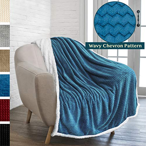 PAVILIA Deluxe Sherpa Fleece Chevron Throw Blanket for Couch, Sofa Super Soft, Plush, Fuzzy Lap Blanket | Reversible, Comfy, Wavy Textured Teal Microfiber Throw for Home (50 x 60 Inches) ()