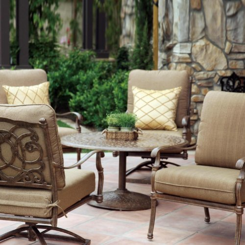 - Darlee Florence 5 Piece Cast Aluminum Patio Conversation Seating Set - Antique Bronze