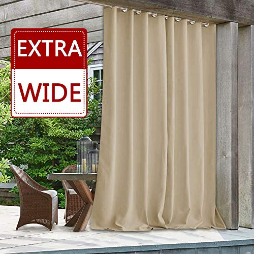 StangH Blackout Indoor Outdoor Curtain - Patio Waterproof Outdoor Drape Extra Wide Long Noise & Heat Blocking Privcay Room Divider Curtain Blind for Porch/Lawn, Cream Beige, 100