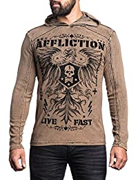 War Machine Long Sleeve PO Hood in Black/Sand Lava Tint by Affliction