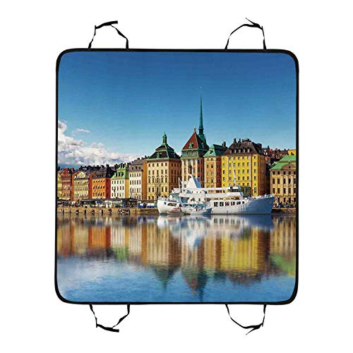 Wanderlust Decor Utility Pet Car Seat,Summer Panorama of The Gamla Stan in Stockholm Sweden Yacht Ship by The Port Ocean for Pet,55