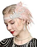 1920s Gatsby Flapper Feather Headband 20s accessories Crystal Beaded Wedding Headpiece(1A-nude)