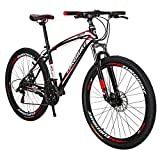 EUROBIKE X1 27.5 Inch Wheels Mountain Bike 21 Speed MTB Bicycle Suspension Fork Mountain Bicycle Blackred