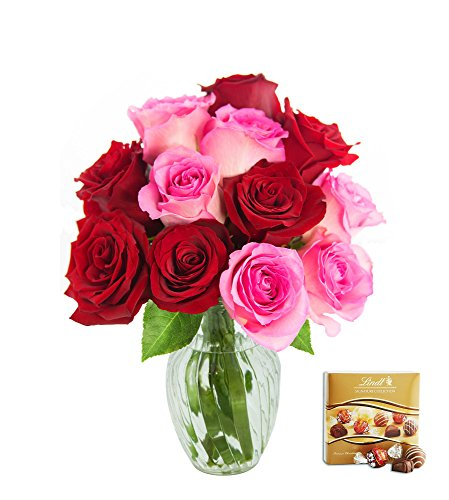 KaBloom Romantic Red and Pink Rose Bouquet of 6 Red Roses and 6 Pink Roses with Vase and One Box of Lindt Chocolates by KaBloom
