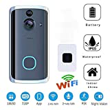 L&ZZ Doorbell, Waterproof Smart Doorbell 720P HD WiFi Security Camera, Real-Time Two-Way Talk and Video, Night Vision, PIR Motion Detection for iOS Android (with Indoor Chime)