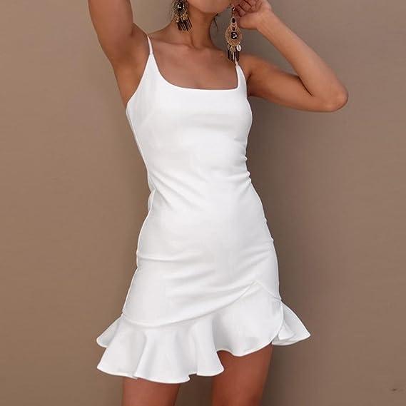 Cinnamou-Mujer Vestido Bodycon Corto Sin Mangas Casual Slim Falda Para Fiesta Mini Vestido V-Collar: Amazon.es: Ropa y accesorios