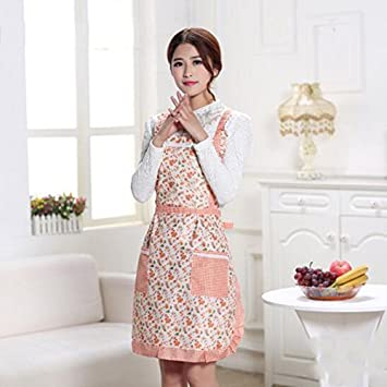 210362e660cf Buy Generic Chocolate   Hot Sale Women Home Kitchen Apron Printed Flower  Polka Dot Waterproof Cooking Polyester Apron Pocket Household Decor  Supplies Online ...