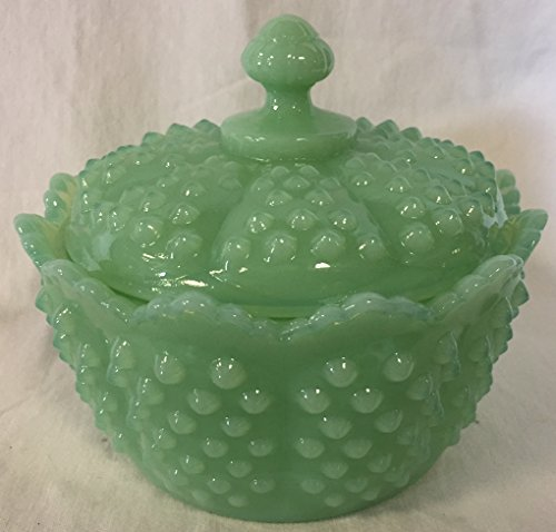 Fenton Hobnail Milk Glass - Hobnail Pattern - Covered Butter Tub Dish - Jadeite Green Glass - American Made - Mosser USA