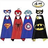 Mizzuco Comics Cartoon Dress Up Costume Satin Cape with Mask for Boys 4pcs