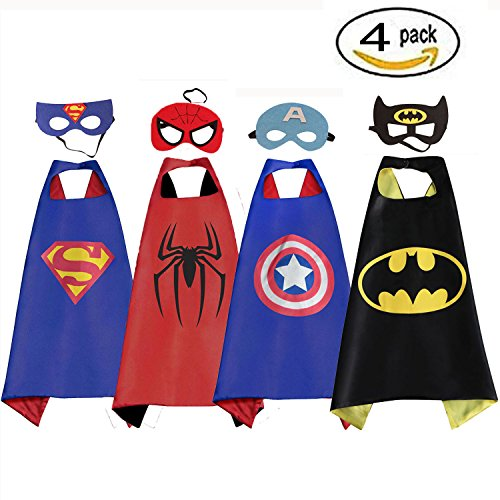 Mizzuco Comics Cartoon Dress Up Costume Satin Cape with Mask for Boys 4pcs