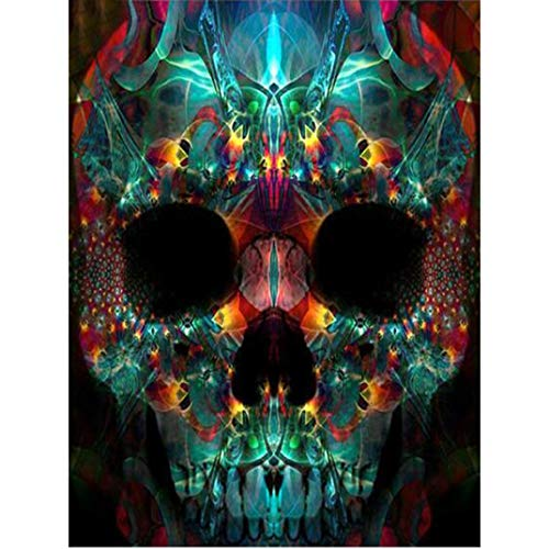 Halloween Skull Diamond Painting, Franterd 5D DIY Rhinestone Painting by Number Kits Full Drill Cross Stitch Art Home Decor -