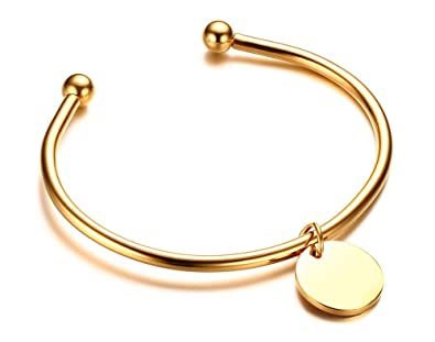 f93a5c8c2f743 Amazon.com: Gold Plated Stainless Steel Simple Open Cuff Ball Bangle ...