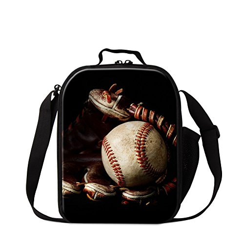 Generic Sports Baseball Print Insulated Lunch Bag for Student Kids Lunch Holder Tote Outdoor Food (Kids Baseball Lunch Box)