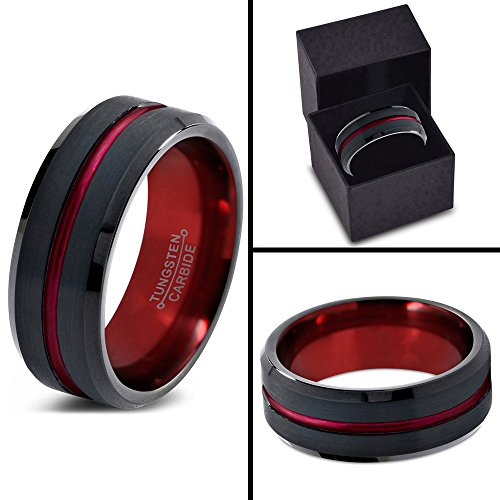 Tungsten Wedding Band Ring 8mm for Men Women Red Black Beveled Edge Brushed Polished Size 10 by Chroma Color Collection (Image #3)
