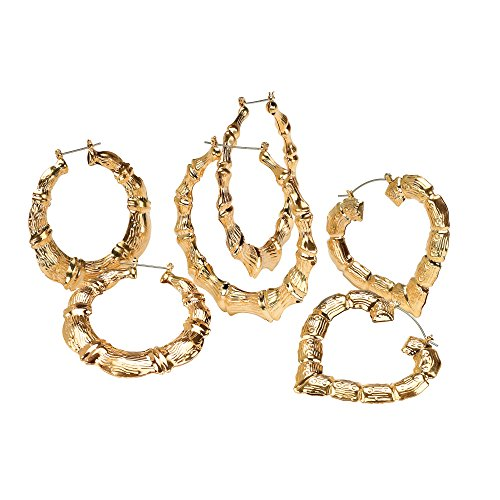 Yellow Gold Tone Bamboo-Style Hoop Earrings 3-Pair Set (60mm, 64mm, (Bamboo Style Earrings)