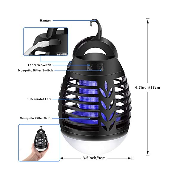 mimoday Lampada Antizanzara Elettrica per Esterno, 2-in-1 Trappola per Zanzare Lanterna da Campeggio Lampada da Tenda… 7 spesavip