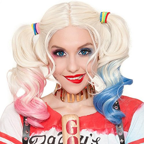 Deifor Two Braids Hair Wigs for Suicide Squad Harley Quinn Cosplay Costume Wigs (Pink Blue (Harley Quinn Hair)