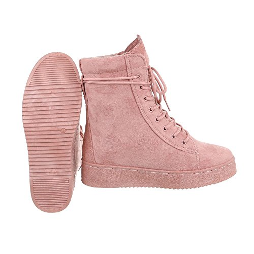 Women's Boots Flat Lace-Up Ankle Boots at Ital-Design Antique Pink Nkto8fRQU