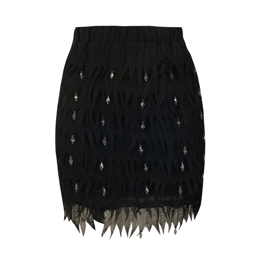 She'sModa Chiffon Feather Shape High-end Diamond Bead Women's Party Wedding Straight Mini Skirt S Size Black