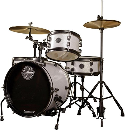 - Ludwig LC178X029 Questlove Pocket 4-Piece Drum Kit in Silver Sparkle Finish