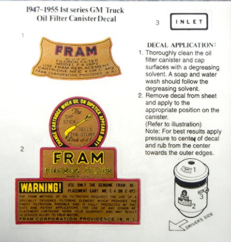 1947-1955 1st Series FRAM OIL FILTER CANISTER DECAL 2pc SET - STICKER - CHEVY