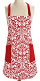 Bilipala Printed Damask Cotton Apron Retro Cooking Apron with Two Pockets (Red)