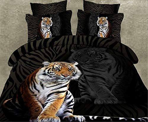 (Guidear 3D Brown Tiger Quilt Duvet Cover 3 Pieces Comfortable Bedding Set with Pillowcases Lightweight Microfiber Bedding Set with Zipper Closure for Kids Boys Queen Size 90