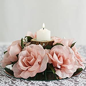 Tableclothsfactory 8 pcs Artificial Roses Flowers Candle Rings for DIY Wedding Centerpieces Party Home Decorations Wholesale - White 44