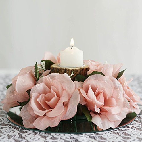 - Efavormart 8 pcs Artificial Roses Flowers Candle Rings for DIY Wedding Centerpieces Party Home Decorations Wholesale - White