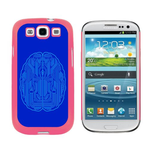 Graphics and More Blue Motherboard Brain - Computer Geek Nerd Snap On Hard Protective Case for Samsung Galaxy S3 - Pink