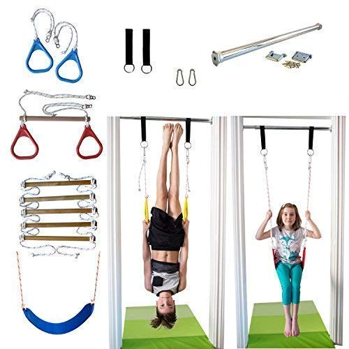 (DreamGYM Indoor Swing and Play Set Trapeze Bar Combo, Gymnastic Rings, Rope Ladder & Belt Swing)