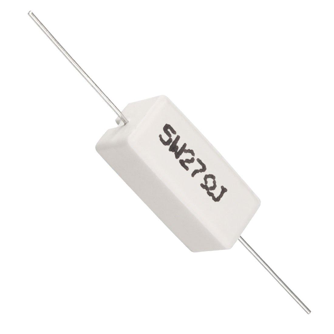 /5/W 27/Ohm potenza resistore resistenza di cemento ceramico assiale piombo 15/pz bianco Sourcingmap/