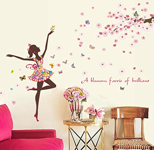 (BIBITIME Vinyl Wall Decal Butterfly Girl Dancing under Tree Branches full of Flowers Fairy Sayings