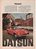 """Magazine Print Ad: Red 1972 Datsun 240-Z Sports Car, """"Wanted"""""""