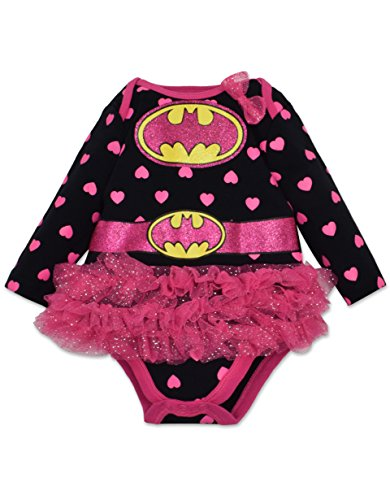 [Baby Girls' Batgirl Tutu Onesie - Black with Pink Hearts, Long Sleeves (0-3 Months)] (Baby Batgirl Outfit)